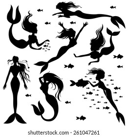 Vector illustrations of set silhouettes mermaids