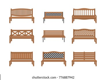 Vector illustrations. Set of street benches.