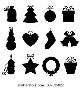 Vector illustrations of silhouette Christmas gifts and labels decorated bows
