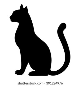 Vector illustrations of silhouette of graceful cat