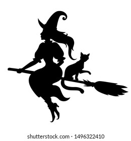 Vector illustrations of silhouette Halloween witch and cat