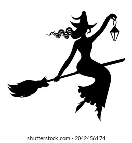 Vector illustrations of silhouette Halloween witch with hat on broom fly with lantern