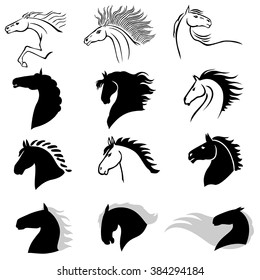 Vector illustrations of silhouette horses heads in profile set isolated on white background. Horse icon.