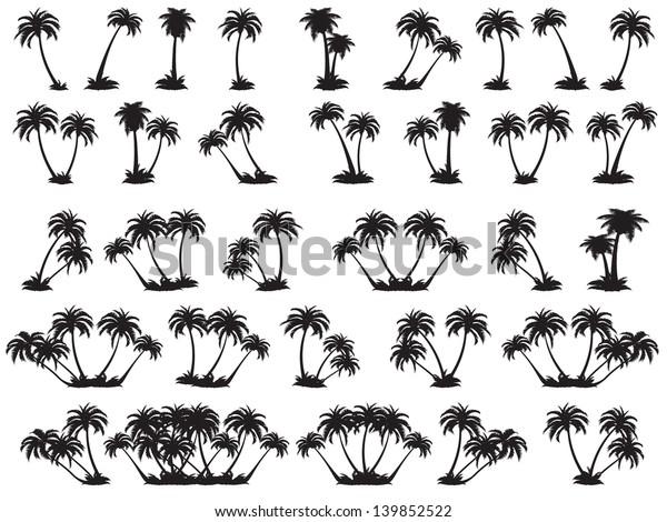 Векторные иллюстрации силуэт пальм. Набор черных деревьев на белом фоне