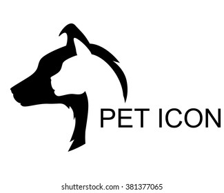 Vector illustrations of silhouette pet shop icon. Cat and dog veterinary