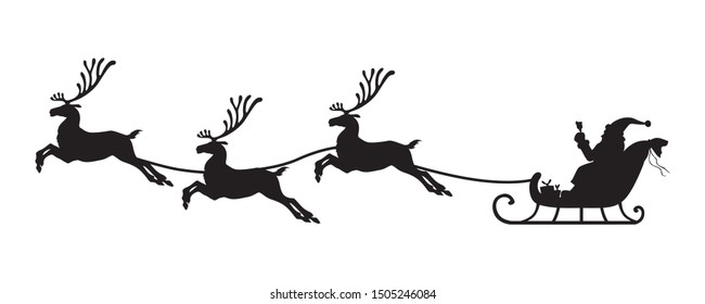 Vector illustrations of silhouette of Santa Claus flying on reindeer sleigh