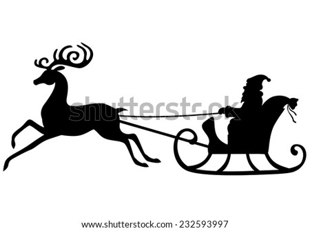Vector Illustrations Silhouette Santa Claus Rides Stock Vector