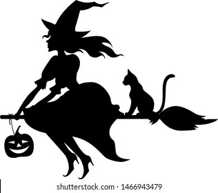 Vector illustrations of silhouette witch with hat on broom fly and cat