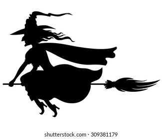 image about Witch Silhouette Printable named Witch Silhouette Visuals, Inventory Shots Vectors Shutterstock
