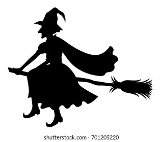 Vector illustrations of silhouette witch with hat and cloak on broom fly