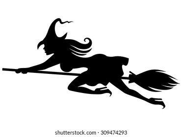 Vector illustrations of silhouette of witch on broomstick flying fast