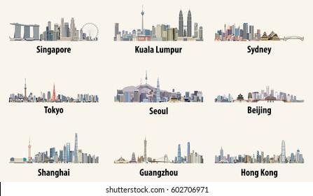 vector illustrations of Singapore, Kuala Lumpur, Sydney, Tokyo, Seoul, Beijing, Shanghai, Guangzhou and Hong Kong skylines