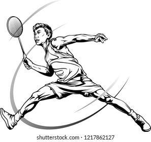 Vector illustrations, sketching or drawing of male badminton players in action.