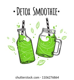 Vector illustrations smoothie or fresh juice with drinking straws. Collection of hand drawn cups, mugs and glasses with healthy summer cocktails. Detox Smoothie.