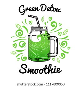 Vector illustrations smoothie or fresh pressed juice with drinking straws. Healthy summer cocktails in jars with motivational text. Green Detox Smoothie