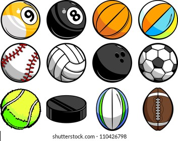 Vector Illustrations of Sport Balls - Baseball, Basketball, tennis, rugby and Billiards