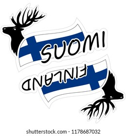 Vector illustrations of stickers of lettering word Finland or Suomi (Finnish language) with deer