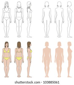 Vector illustrations. Templates collection of woman's figure. Front, back, side views