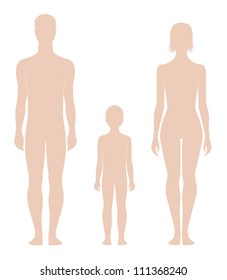 Vector illustrations. Templates of human figures. Silhouettes