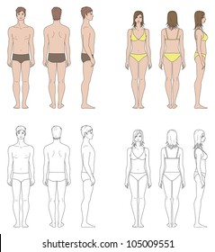 Vector illustrations. Templates of human's figure. Front, back, side views