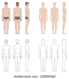 Vector illustrations. Templates of man's figure. Front, back, side views