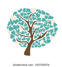 Vector Illustrations of Tree with Turquoise Hearts. Vector Illustrations isolated on white background