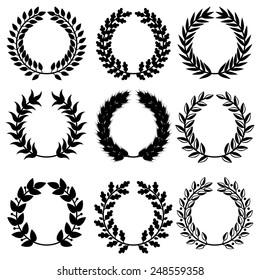 Vector illustrations of  triumph wreaths set