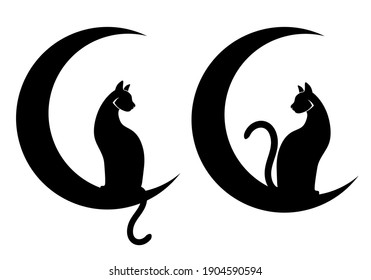 Vector illustrations, two cats sitting on crescent Moons. Black silhouettes drawn on a white background. Tattoo, creative logo, wall decals, artwork, minimalist wall art, poster design