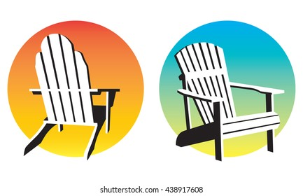 Vector illustrations of two different adirondack, muskoka, beach chairs and setting suns.