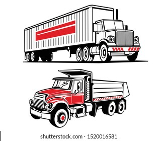 Vector illustrations of two heavy trucks. Black and red trucks.