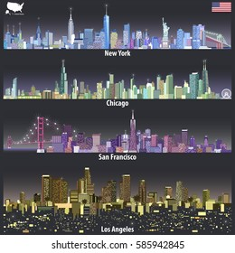 vector illustrations of United States city skylines in different colorful palettes with bright city lights. Flag and map of United States
