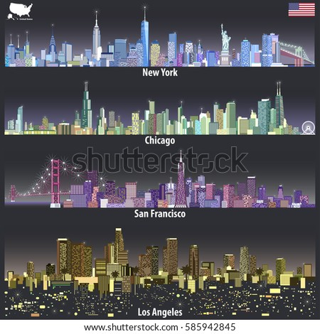 vector illustrations united states city skylines stock vector