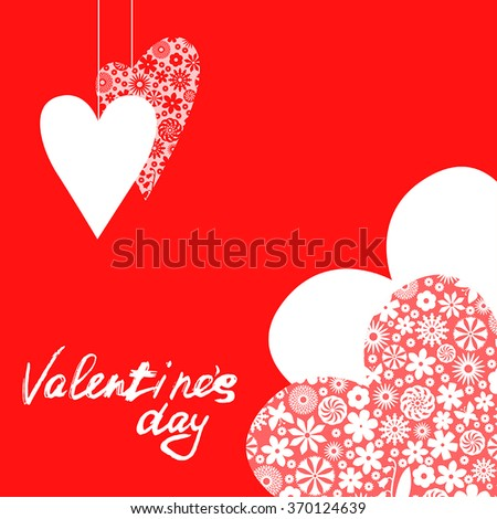 Vector Illustrations Valentines Day Card Patterned Stock Vector