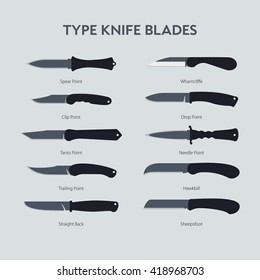 Vector  Illustrations variants type knife blades. Icon for web design, instructions and illustrations. A simple illustration of hand folding knife for everyday carrying, stylized illustration