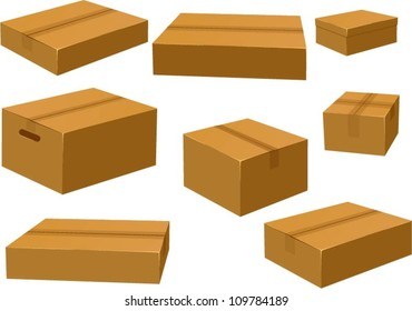 Vector illustrations of various closed card board boxes.