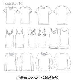 Vector Illustrations of various clothing garments.