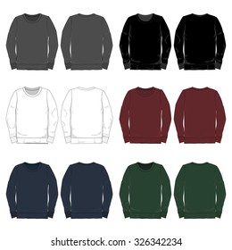 Vector Illustrations of various colored long-sleeved tees.