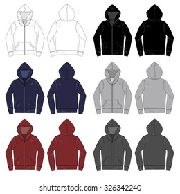 Vector illustrations of various colored long-sleeved Hoodies.