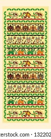 Vector illustrations of various madhubani figures from India. Can be used as poster, wallpaper and decorations, festival posters, textile, fabric pattern, local souvenirs, board.