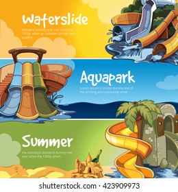 Vector illustrations. Web banners of Water slide in an aqua park