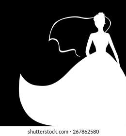 Vector illustrations of wedding bride silhouette