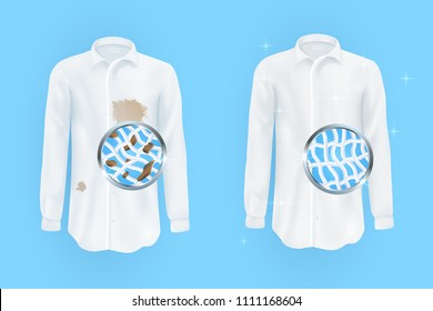 Vector illustrations of a white shirt with dirty brown spots and clean ,wrinkled and ironed shirts before and after a dry cleaning isolated on blue background.