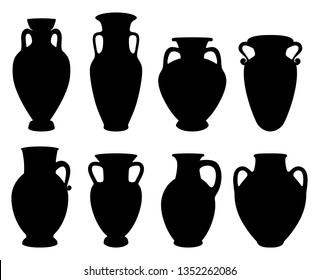 Vector Illustrations for wine production. Silhouettes of Greek Amphoras with copy space of earthenware ancient products from Greece.