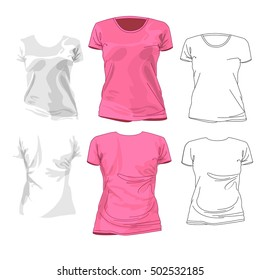 Vector Illustrations of Women's Fashion Garments. White and pink t-shirt design template