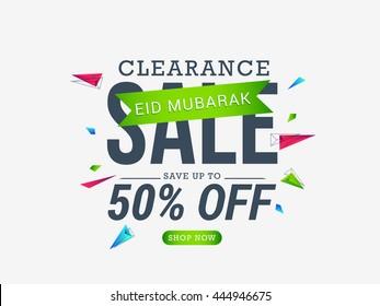 Vector illustration,sale banner or sale poster for festival of eid mubarak celebration.