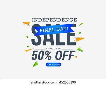 Vector illustration,sale banner or sale poster for indian independence day celebration.