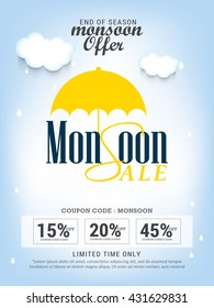 Vector illustration,sale banner,poster or flyer for Monsoon season with raining drops.