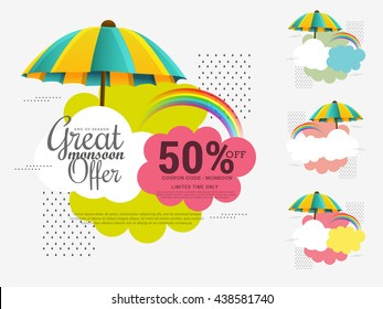 Vector illustration,sale banner,sale poster for Monsoon season raining drops,colorful umbrella with text space background.