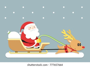 Vector Illustration,Santa claus and his reindeer start going to give gifts