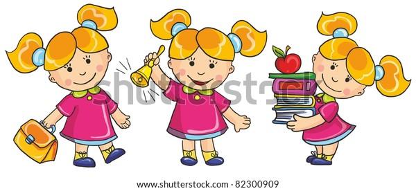 2e707e2c6 vector illustration-schoolgirl go to school, hold a lot of books, ring in